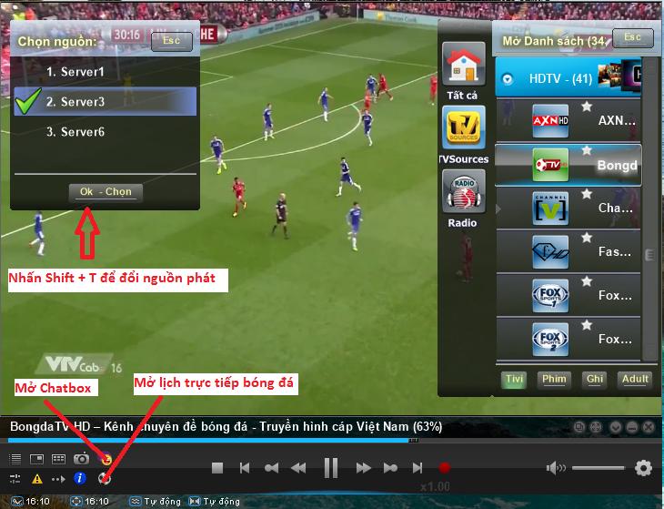 Phần mềm xem TiVi trên Laptop