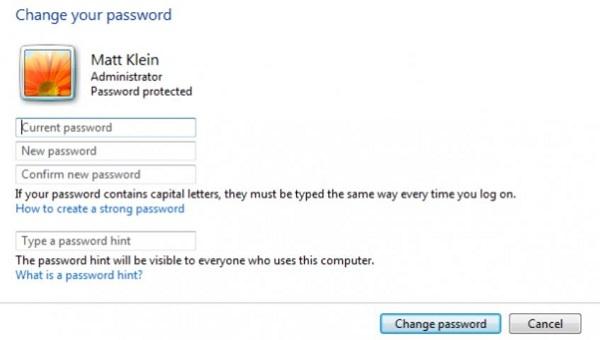 đặt pass cho máy tính