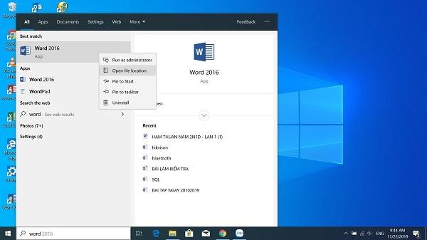 cách đưa biểu tượng word ra desktop trong win 10