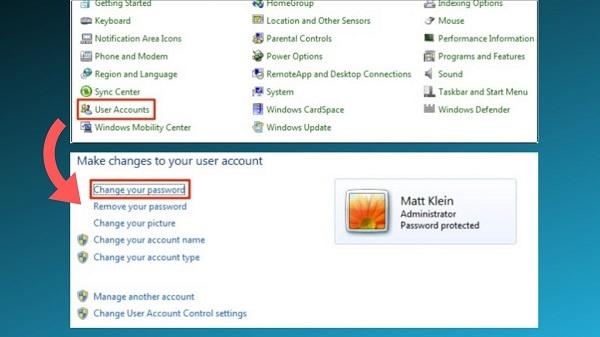 cách đổi mật khẩu máy win 7