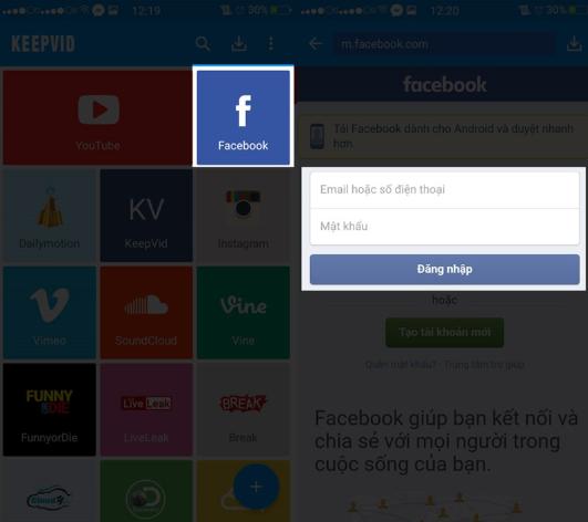 ải Video bằng ứng dụng Keepvid