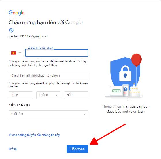Cách đăng ký gmail cho PC